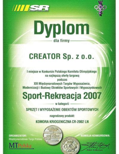 Dyplom - Targi Sport i Rekreacja